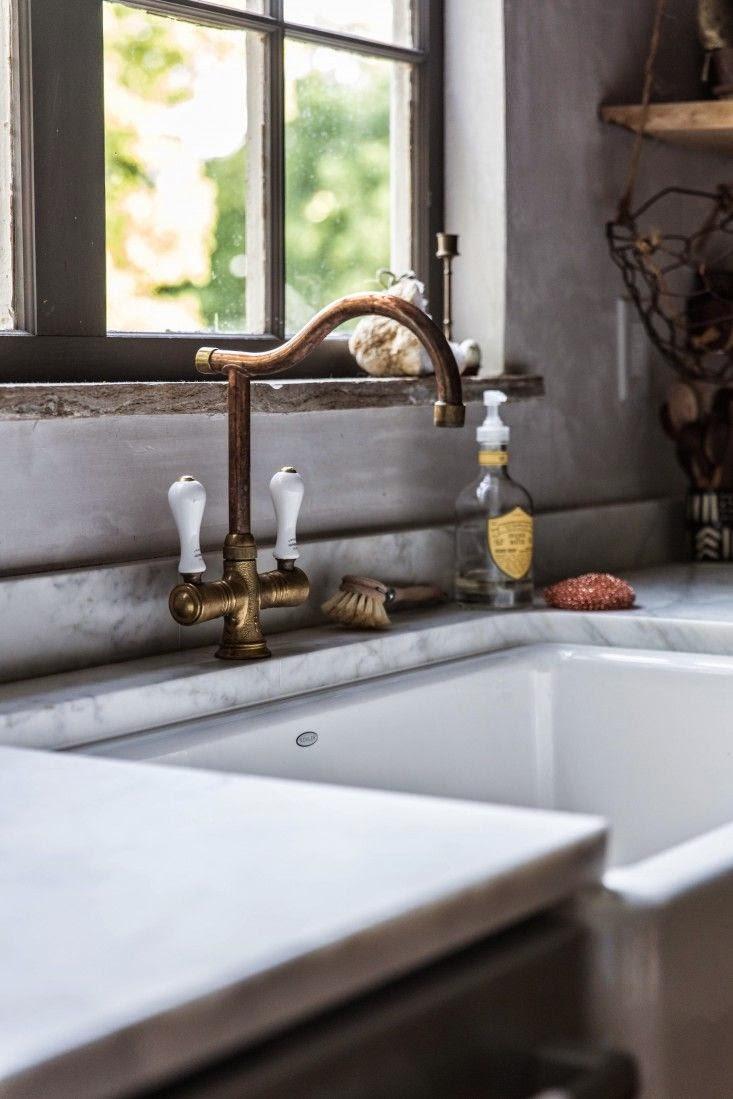 unlacquered brass kitchen faucet