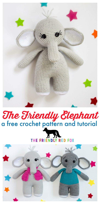 Ella the elephant and her boy friend | Crochet elephant pattern ... | 1500x735