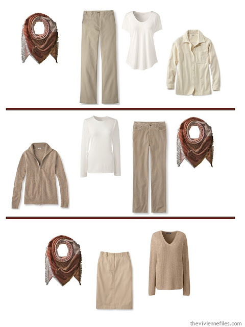 Adding an autumn colored scarf to a soft, warm Common Wardrobe
