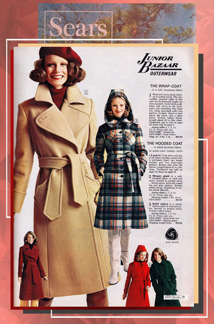 90c17b9dd Junior Bazaar Outerwear. Shelley in a spread for Sears Fall/Winter/1975  catalog