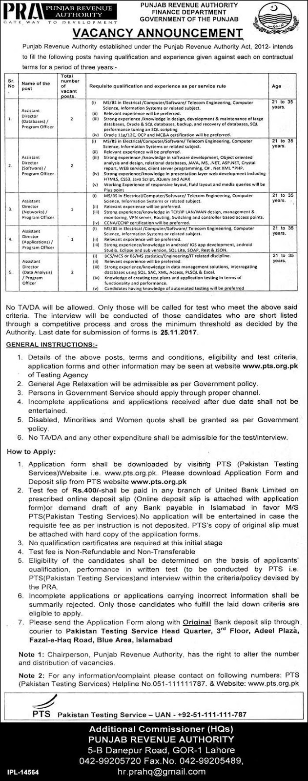 Jobs In Punjab Revenue Authority Finance Department Nov 2017