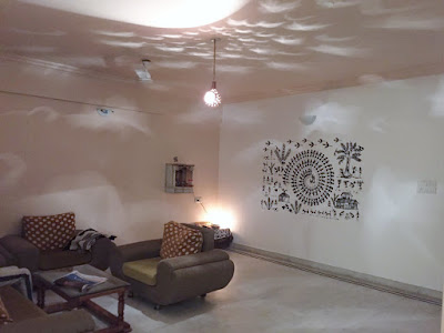 Warli village wall decal actual installation picture