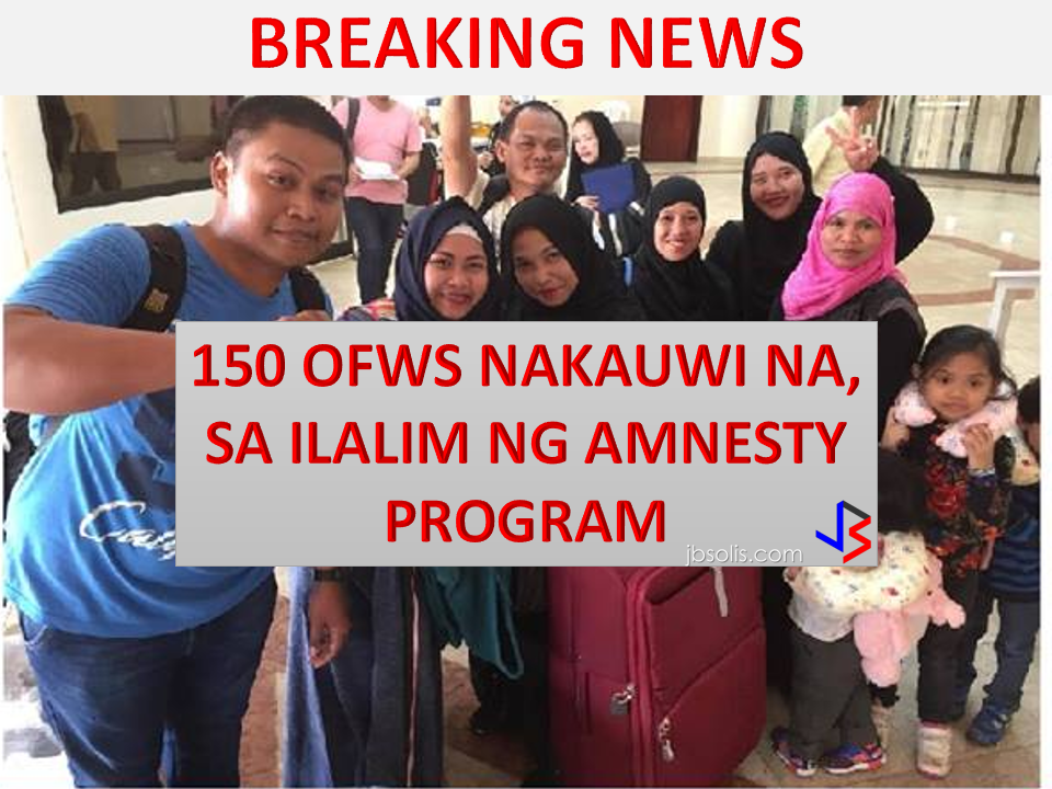 150 OFWs who are undocumented flew back home on April 16, 2017 via Philippine Airline. They are expected to arrived on April 17, 2017 at  3:30 Am. They are the undocumented OFWs who availed the amnesty program given by the Saudi government. List of 150 Undocumented OFWs repatriated under the Amnesty program of Saudi Arabia.  They will arrived at NAIA Terminal1 with these identifications.