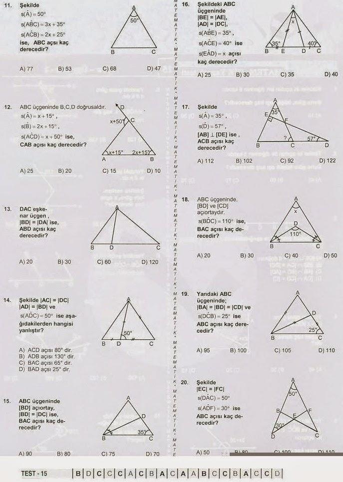 7. sınıf matematik açılar, üçgenler konusu soruları online