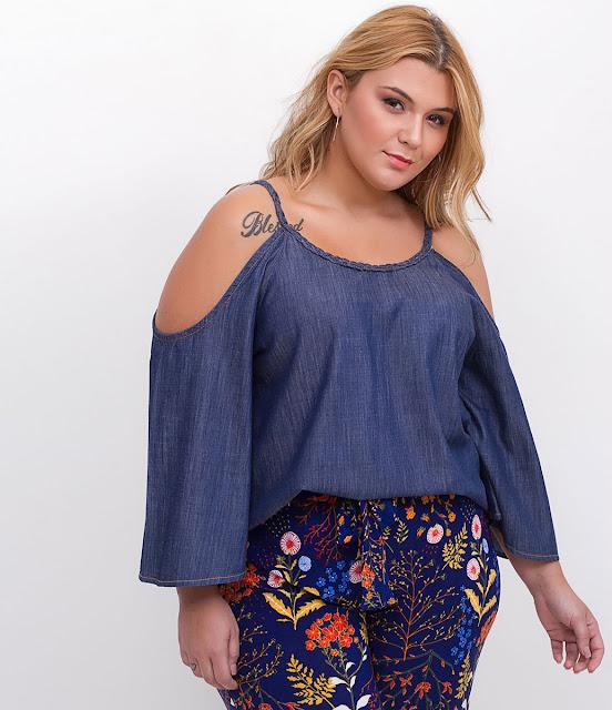Moda plus size Blusa Jeans Ciganinha Curve & Plus Size