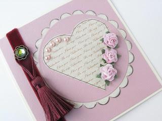 Vintage style hand made valentine card
