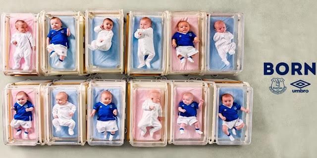 Umbro presenta la nueva del Everton con bebés