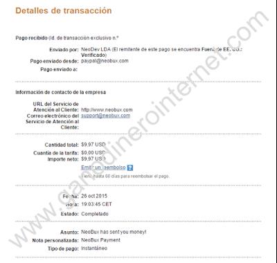 Comprobante de pago de NeoBux