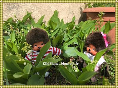 kiki, monchhichi, muguet, 1er mai, porte-bonheur