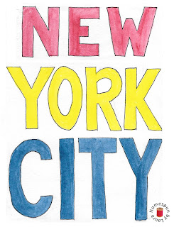 New York City text watercolor painting
