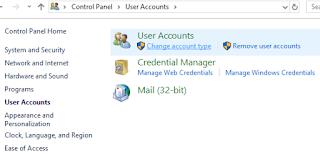 cara mengganti type account dan password