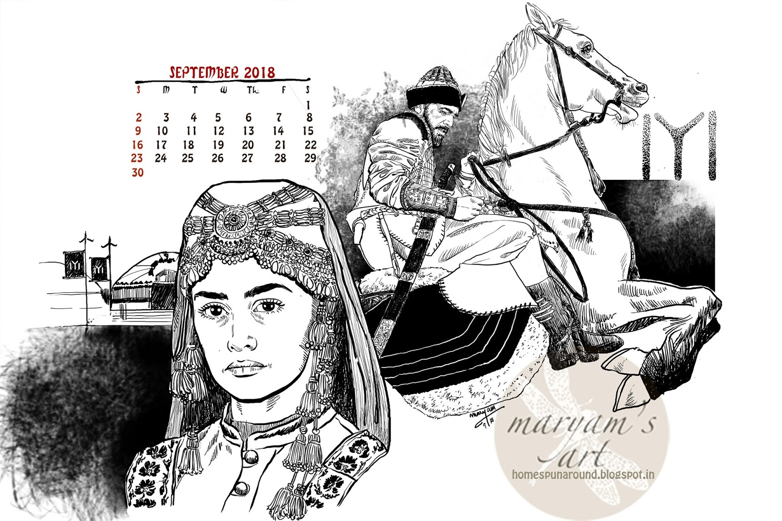 Piqued Case For Curiosity >> September 2018 Calendar Graphic Ertugrul Home Spun Around