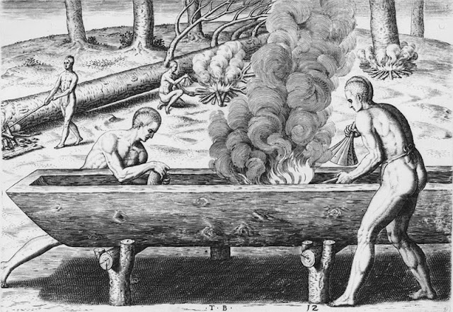 This drawing from 1590 by Theodor de Bry shows a variety of ways that native American Indians used fire in the felling of trees and the hollowing out of a dugout canoe.