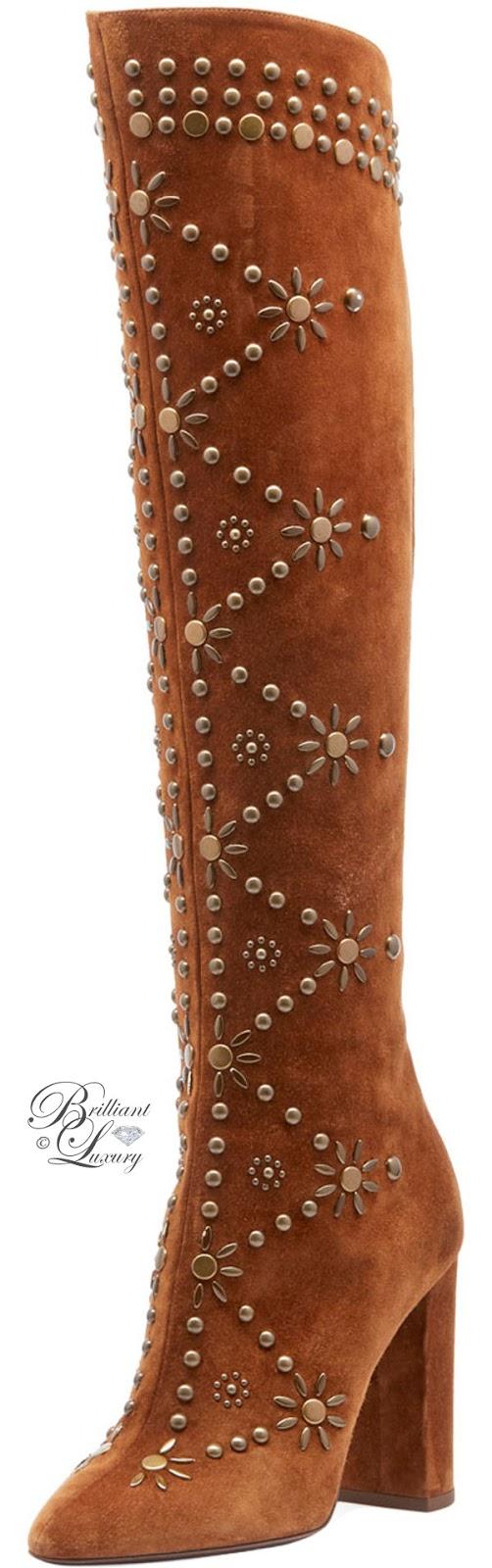 Brilliant Luxury ♦ Saint Laurent Ella Studded Suede Knee Boot