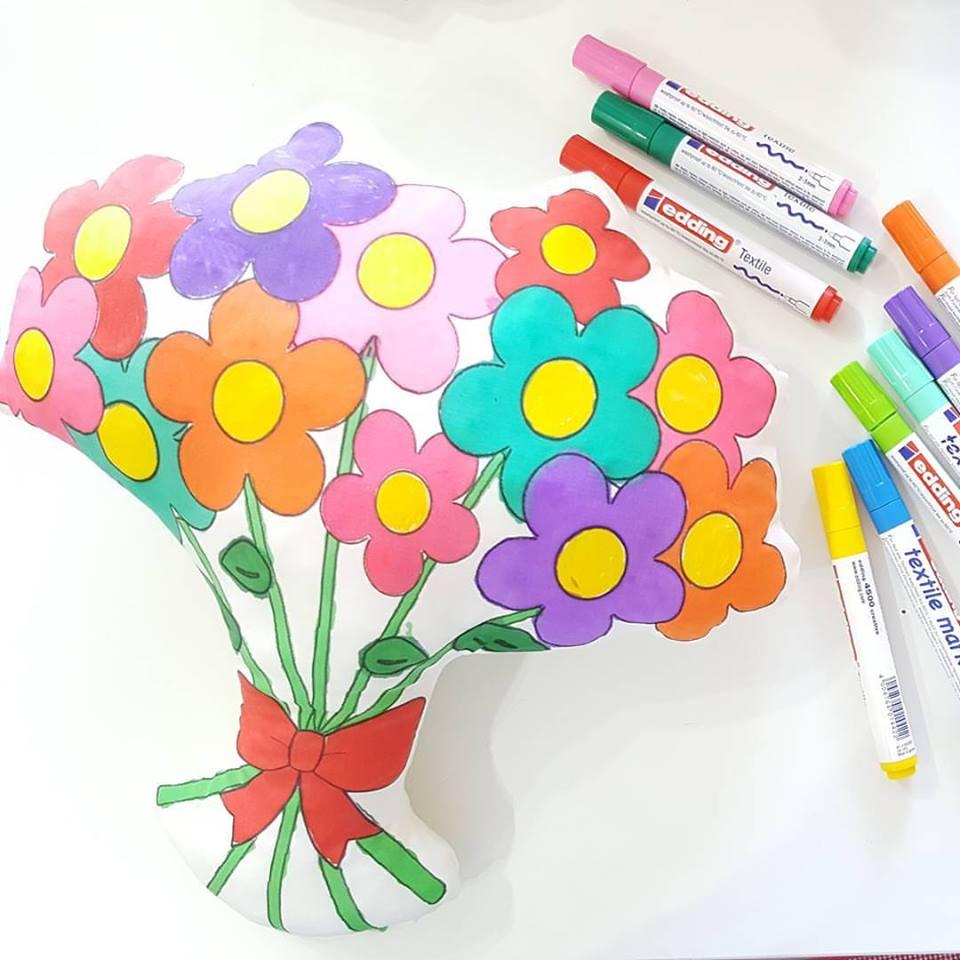 Hobizu Anneler Günü Hediyesi çiçek Buketi Yastık