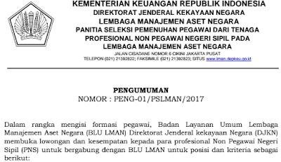 Lowongan Kerja Badan Layanan Umum Lembaga Manajemen Aset Negara untuk Jabatan Kepala