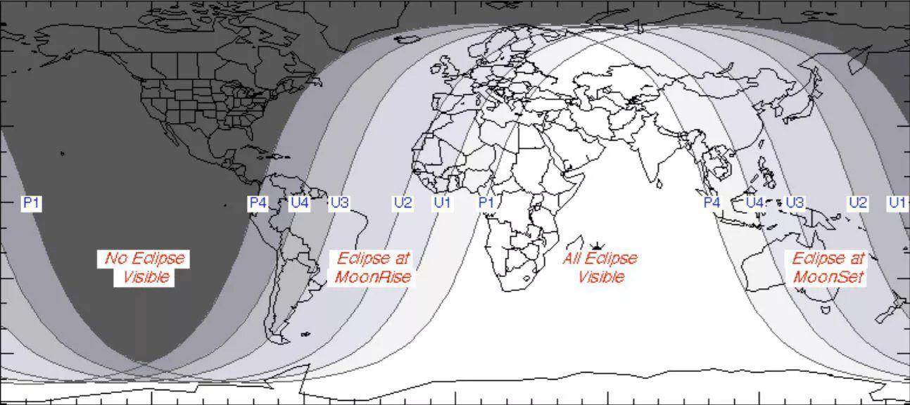 Области наиболее благоприятного наблюдения лунного затмения 27 июля 2018 года