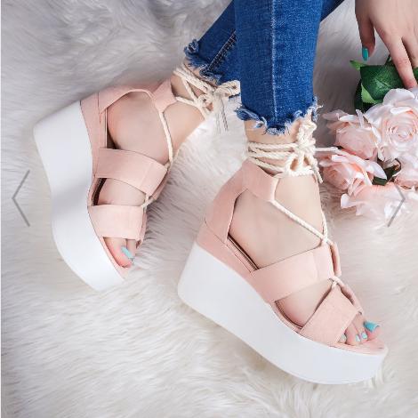 Sandale cu platforma roz casual de vara la moda ieftine online
