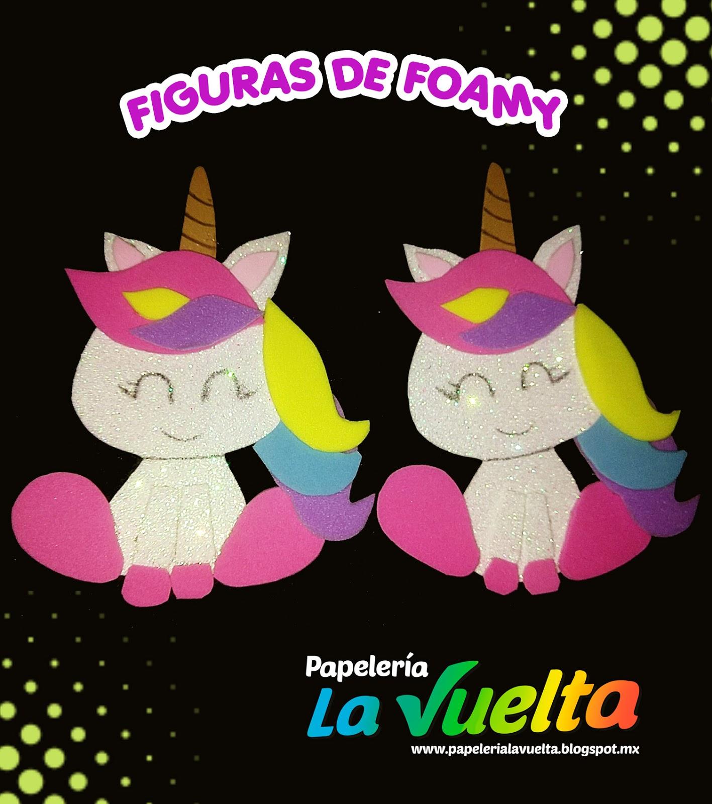 0042d9a05e6 Papelería La Vuelta  Figuras de foamy  Unicronios y zorro bebe