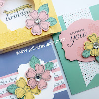 Stampin' Up! Birthday Blossoms Stamp of the MOnth Club Card Kit by Julie Davison #stampinup www.juliedavison.com