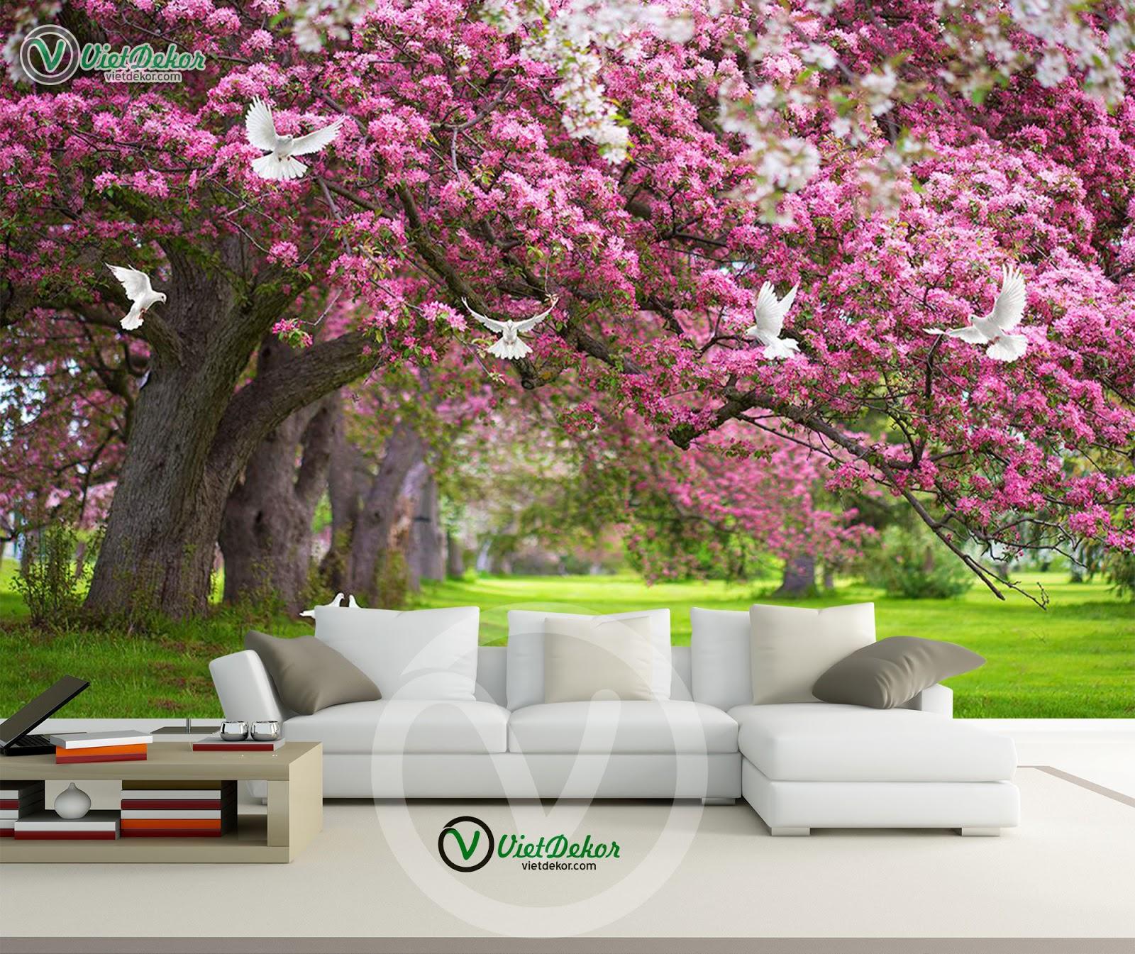 Tranh dán tường phong cảnh mùa xuân đẹp