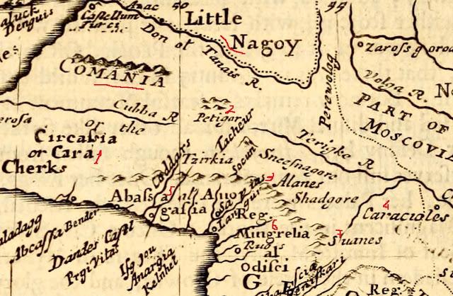 историческая карта Комании-Карачая, историческая карта Черкесии