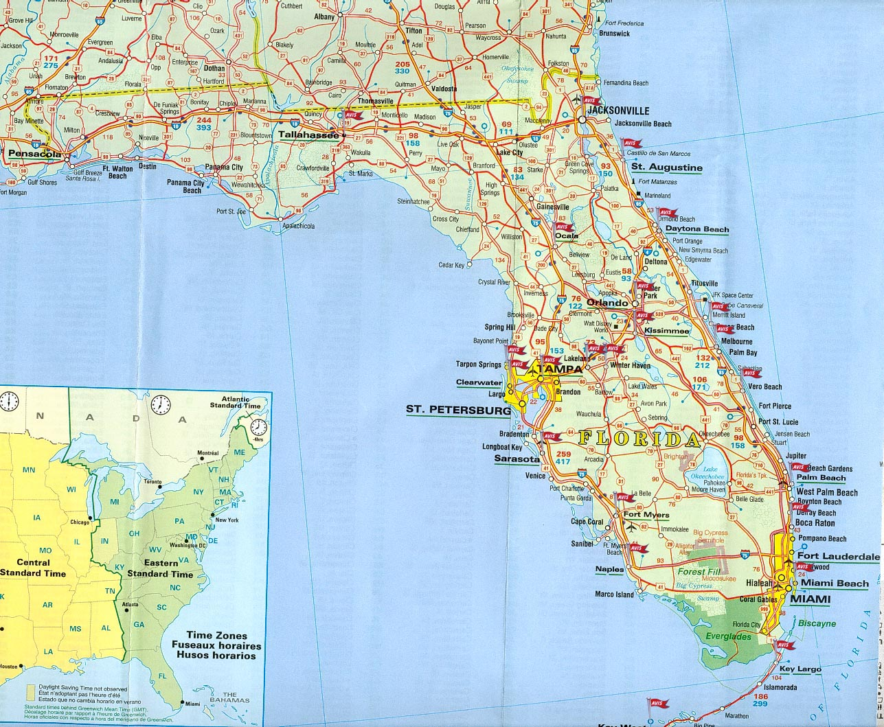 mapa de florida estados unidos de norteamerica