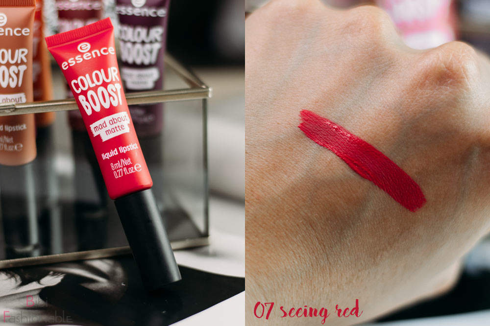 essence colour boost mad about matte liquid lipstick 07 seeing red inkl Swatch