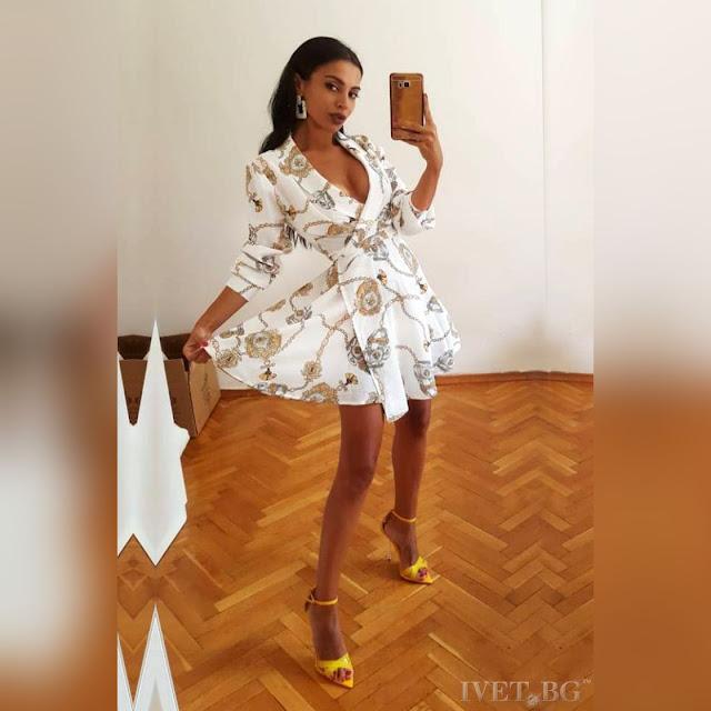 Μοντέρνο κοντό χρωματιστό φόρεμα HESTIA WHITE