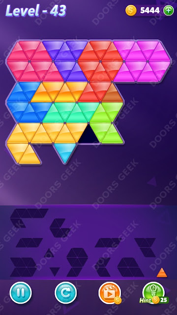 Block! Triangle Puzzle 12 Mania Level 43 Solution, Cheats, Walkthrough for Android, iPhone, iPad and iPod