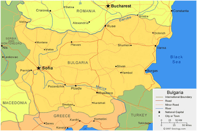 Gambar Peta wilayah negara Bulgaria HD