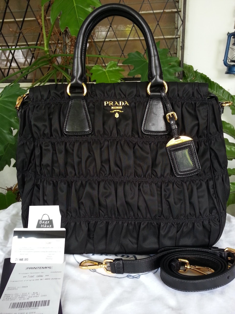 2356b5f309e5 ... discount code for prada b1336m nylon gaufre tote color black sold with  542ab e0119