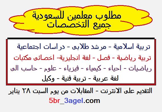 """فورا للسعودية معلمين لجميع التخصصات """" براتب مميز وبدلات تصل 15 الف ريال """" التقديم على الانترنت - المقابلات تبدأ السبت 28 يناير"""