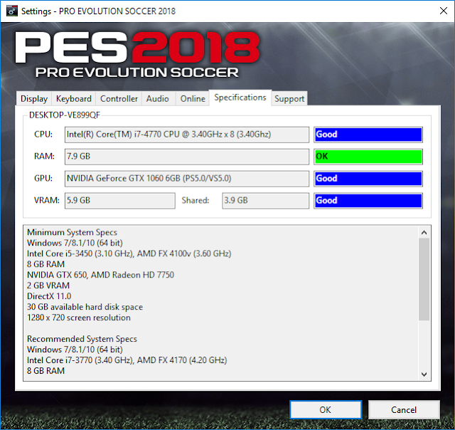 PES 2018 Setting.exe Only