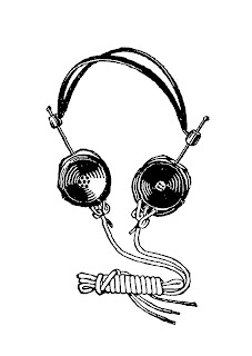 headphones antique image digital clipart artwork