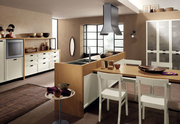 Arte y arquitectura cocinas con isla y mesa adosada for Islas para cocina comedor