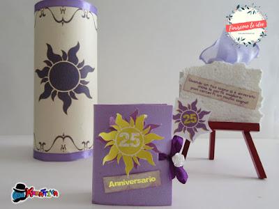 lanterna fluttuante libricino bomboniera e cavalletto rapunzel