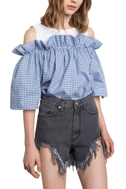 Iyasson Plaid Cold Shoulder Swing Blouse