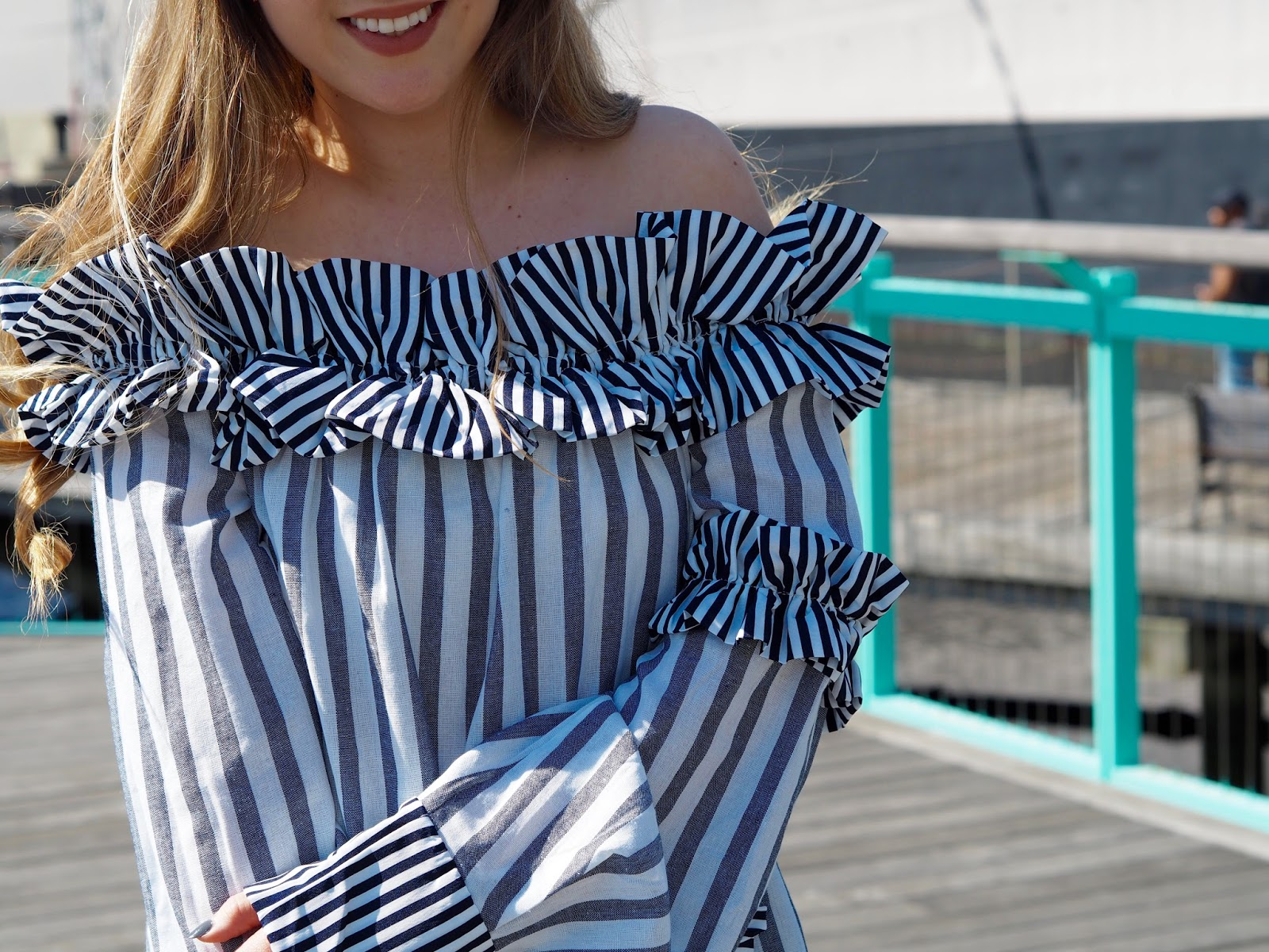 77cc2bf92108 Striped OTS with Ruffles - Cups of Couture