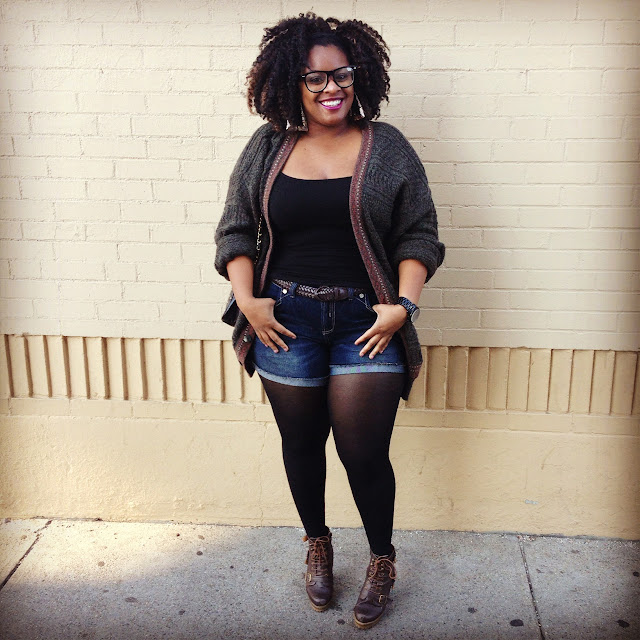 42 Back to School Outfits To Start The Year Off Right! thrifted thrift store black girl magic cardigan sweater tank top cuffed shorts stockings tights boots