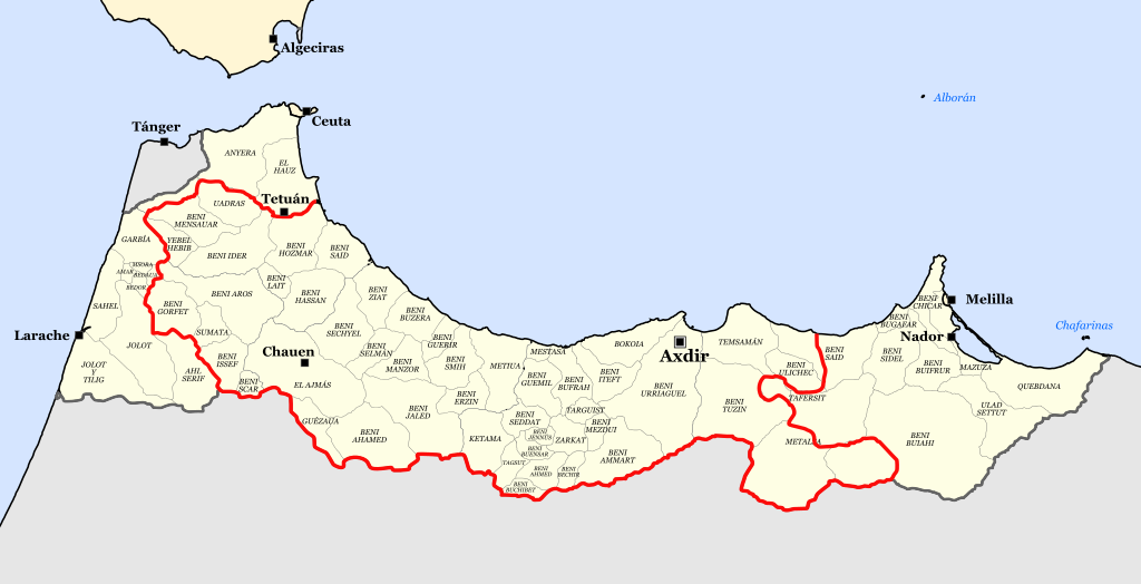 Territory of Spanish Morocco under control of the Rif Republic (outlined in red)