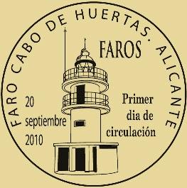Matasellos PDC de Huertas, Alicante de la Hoja Bloque de Faros 2010