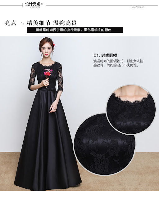 Black long sleeve gowns 2016 new autumn winter Toastmasters female fashion slim slim elegant long bi-fold wallets