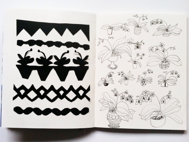 2x2 Sketchbook, sketchbooks, orchids, cut paper, black and white, Dana Barbieri, Anne Butera