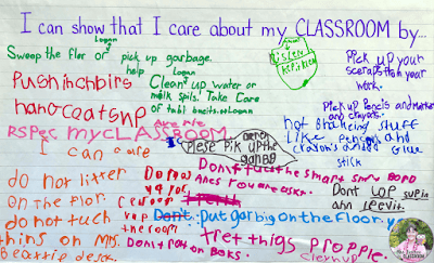 Anchor chart that shows student brainstorming about how they can show they care about their classroom.