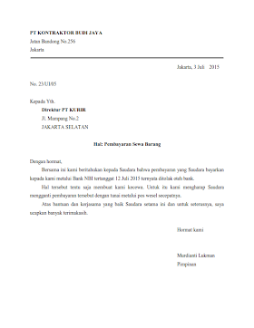 Contoh Surat Dinas Bentuk Lurus Penuh