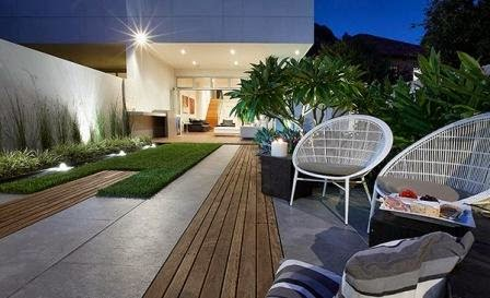 foto desain taman rumah kolam minimalis modern ~ simple acre