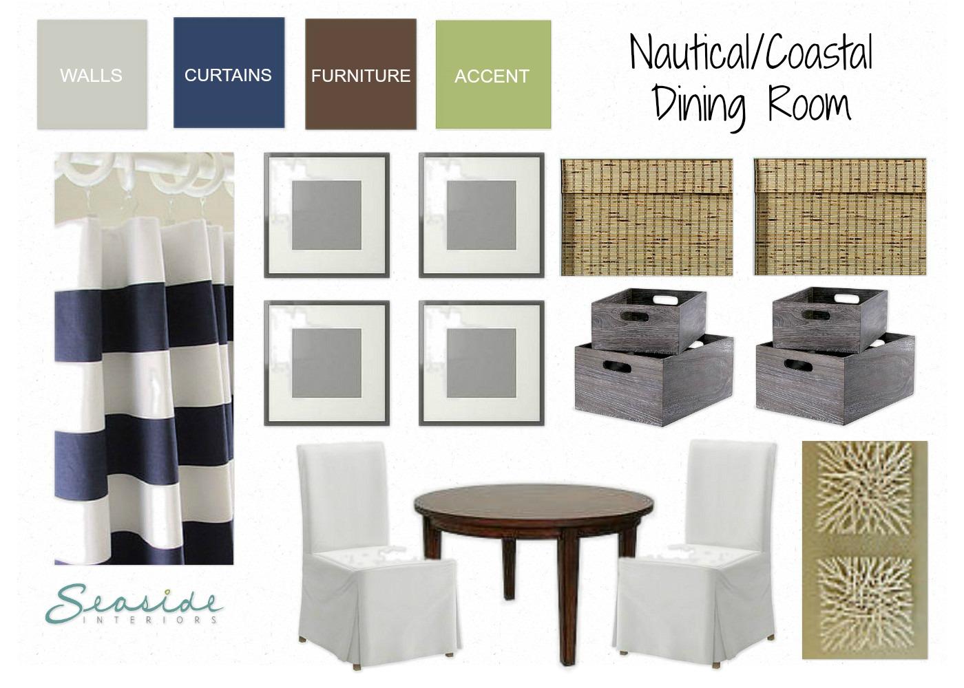 Seaside interiors nautical coastal dining room design for Home interiors new name