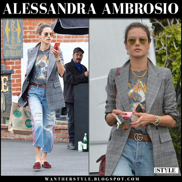 Alessandra Ambrosio in grey check blazer, ripped jeans and mules veronica beard street fashion march 20