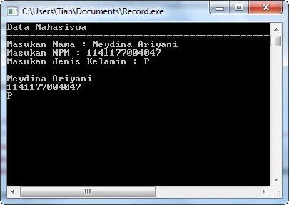 Source Code Program Data Mahasiswa dengan Record dalam Pascal